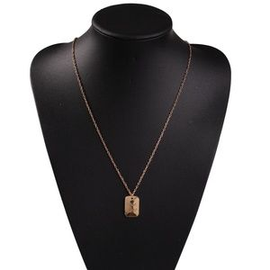 Geometric Gold Plating Alloy Tag Necklace